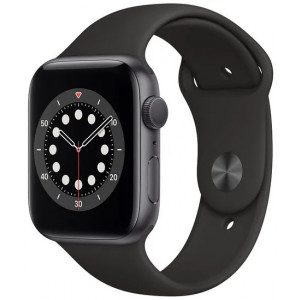 Apple Watch Series 6 GPS, 44mm Silver Aluminium Case with Black Sport Band