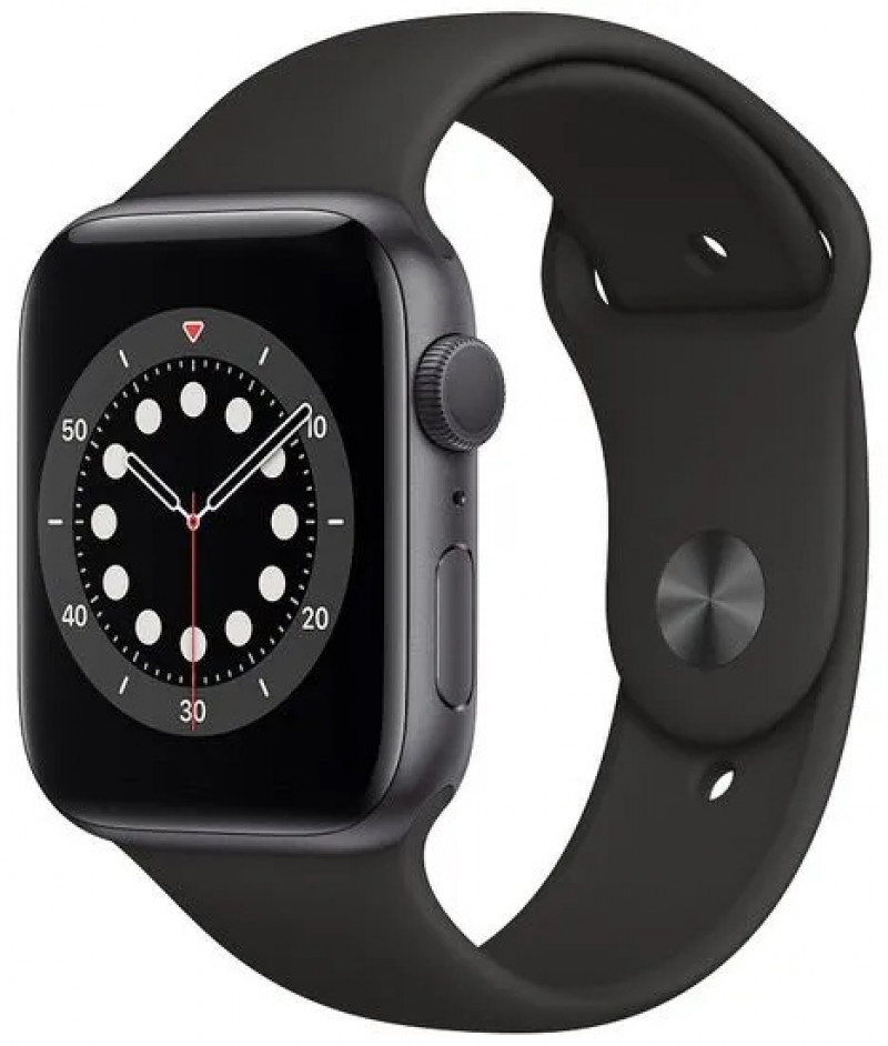 APPLE Watch Series 6 44mm Silver Aluminium Case with Black Sport Band - Regular M00D3HC/A