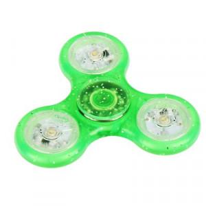 Fidget Spinner LED 4 Zelený s třpytkami