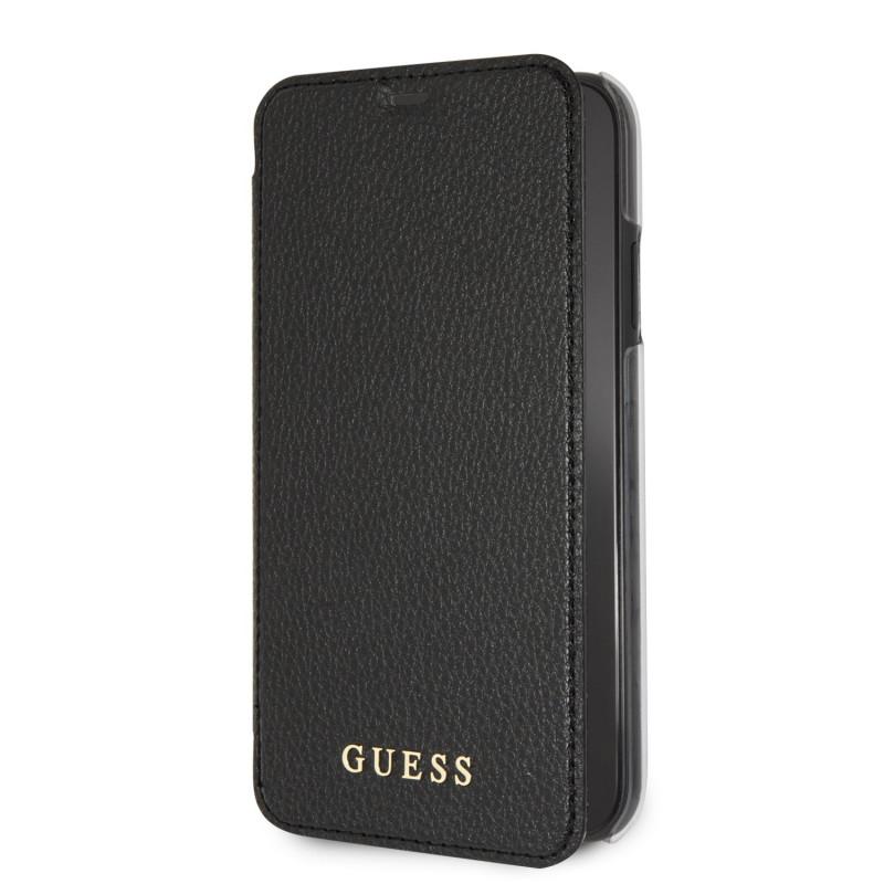 GUFLBKI61IGLBK Guess PU Leather Book Case Iridescent Black pro iPhone XR