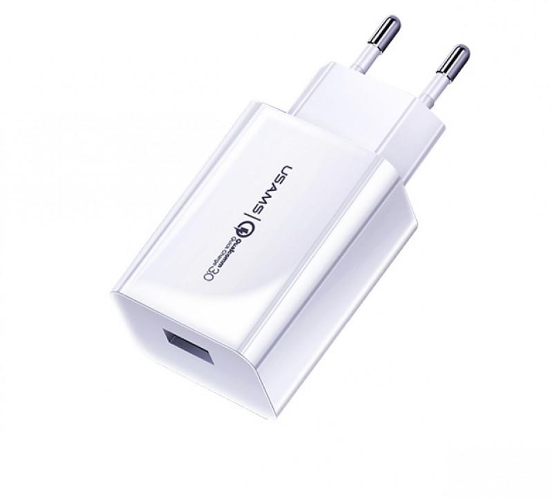 USAMS CC083 Single QC.3 USB Cestovní Nabíječka White (EU Blister)