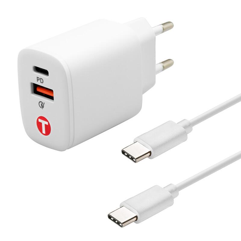 mobilNET sieťová nabíjačka 20W, 2x TypeC 3A, 2M,  Power Delivery + Quick Charge, Eko balenie, biela