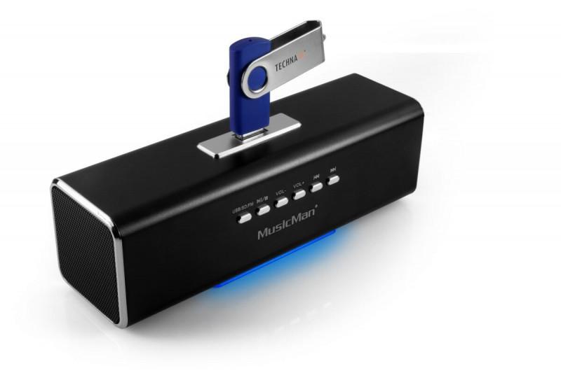 Technaxx MusicMan prenosný reproduktor 600mAh FM, USB, čierny